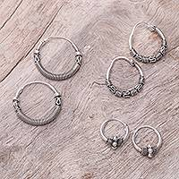 Sterling silver hoop earrings, 'Thai Patterns' (set of 3) - Sterling Silver Hoop Earrings Crafted in Thailand (Set of 3)