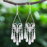 Sterling silver filigree dangle earrings, 'Diamond Fountains' - Handmade Sterling Silver Filigree Dangle Earrings