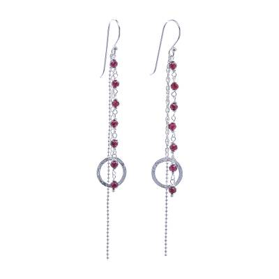 Garnet Dangle Earrings with Sterling Rings from Thailand