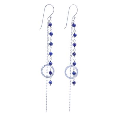 Lapis Lazuli Dangle Earrings with Sterling Rings