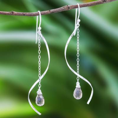 Smoky quartz dangle earrings, 'Solar Spin' - Smoky Quartz Dangle Earrings with Sterling Spirals