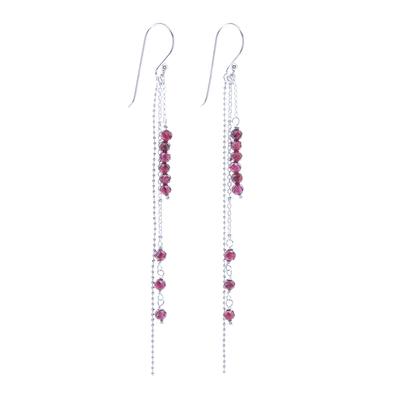Garnet Beaded Dangle Earrings from Thailand