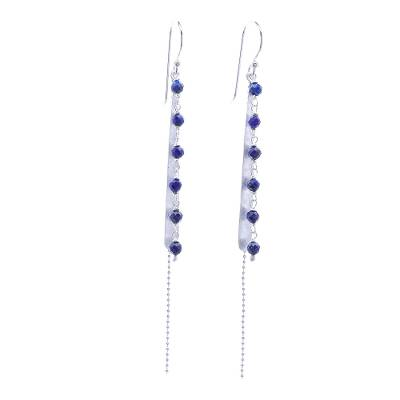 Faceted Lapis Lazuli Beaded Dangle Earrings from Thailand