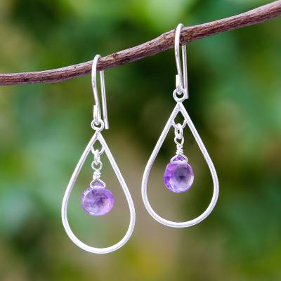 Amethyst dangle earrings, 'Violet Drops' - Drop-Shaped Faceted Amethyst Dangle Earrings from Thailand