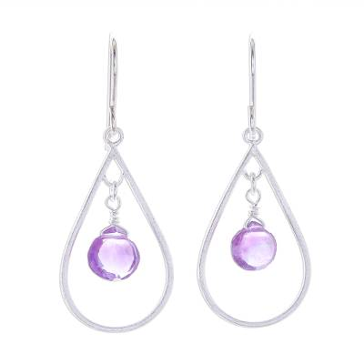 Drop-Shaped Faceted Amethyst Dangle Earrings from Thailand