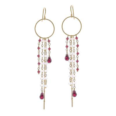Gold Plated Garnet and Rainbow Moonstone Waterfall Earrings