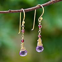 Gold plated amethyst and garnet dangle earrings, 'Lavender Bliss' - Gold Plated Amethyst and Garnet Dangle Earrings