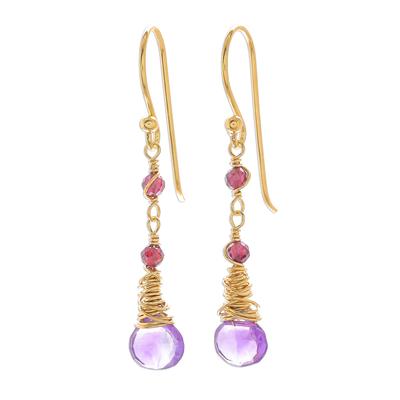 Gold Plated Amethyst and Garnet Dangle Earrings