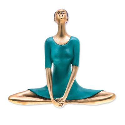 Patina Brass Butterfly Pose Yoga Sculpture from Thailand