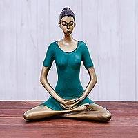 Brass sculpture, 'Yoga Meditation in Green' - Patina Brass Meditation Sculpture from Thailand