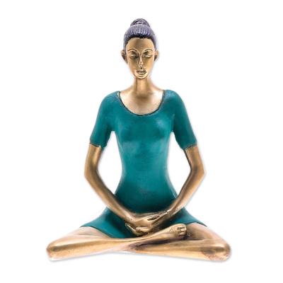 Patina Brass Meditation Sculpture from Thailand