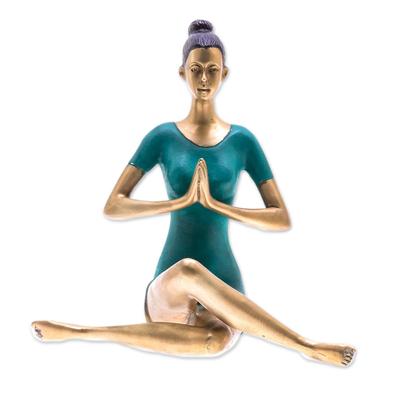 Patina Brass Sukhasana Pose Yoga Sculpture from Thailand