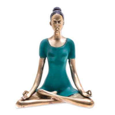 Patina Brass Half Lotus Pose Yoga Sculpture from Thailand