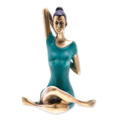 Patina Brass Cow Face Pose Yoga Sculpture from Thailand