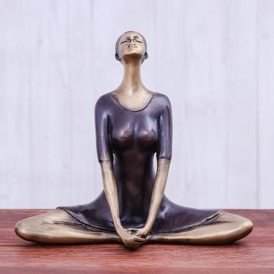 antiqued brass butterfly pose brass yoga sculpture