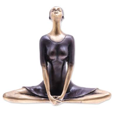 Antiqued Brass Butterfly Pose Brass Yoga Sculpture