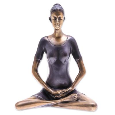 Antiqued Brass Brass Meditation Sculpture from Thailand