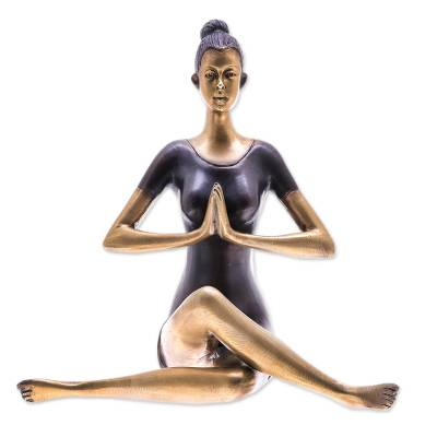 Antiqued Brass Sukhasana Pose Brass Yoga Sculpture