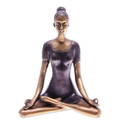 Antiqued Brass Half Lotus Pose Brass Yoga Sculpture