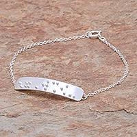 Sterling silver pendant bracelet, 'Braille Courage' - Courage-Themed Braille Sterling Silver Pendant Bracelet