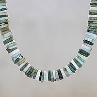 Jade beaded necklace, 'Elegant Stones in Green'