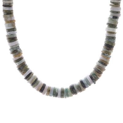 Jade beaded necklace, 'Elegant Stones in Green' - Jade Beaded Necklace in Green from Thailand