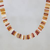 Jade beaded necklace, 'Elegant Stones in Brown'