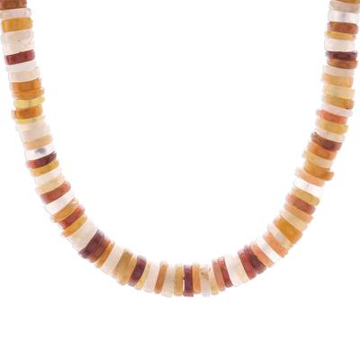 Jade beaded necklace, 'Elegant Stones in Brown' - Jade Beaded Necklace in Brown from Thailand