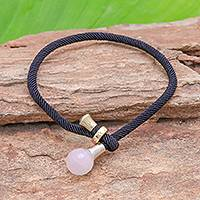 Rose quartz pendant bracelet, 'Lucky Black String' - 4.5-Carat Rose Quartz Pendant Bracelet from Thailand