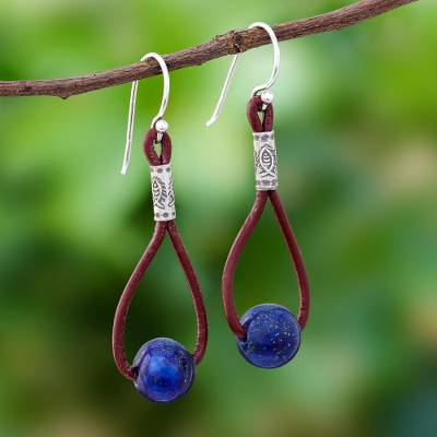 Lapis lazuli dangle earrings, 'Spring Passion' - Lapis Lazuli and Karen Silver Dangle Earrings with Leather