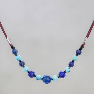 Lapis lazuli and howlite beaded necklace, 'Joyful Holiday' - Lapis Lazuli and Howlite Beaded Necklace with Karen Silver