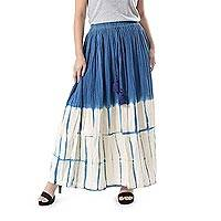 Tie-dyed cotton skirt, 'Striking Shibori' - Azure and Ivory Shibori Tie-Dyed Cotton Skirt from Thailand