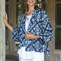 Short cotton kimono jacket, 'Cool Vacation' - Flower Pattern Short Cotton Kimono Jacket