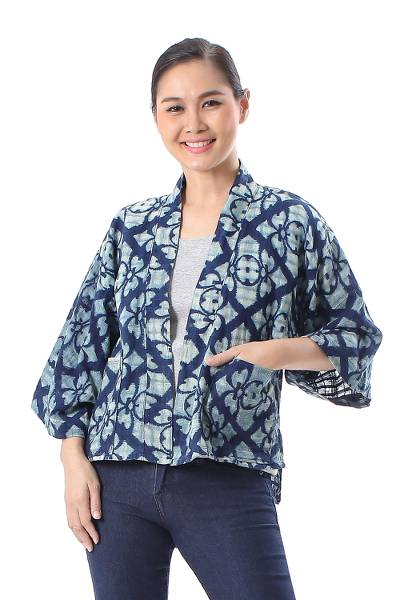 Flower Pattern Short Cotton Kimono Jacket