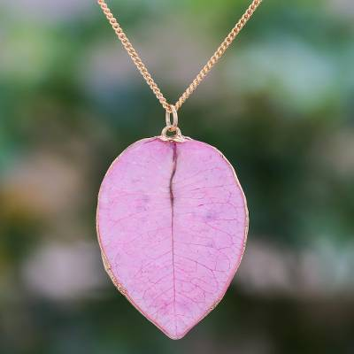 Gold accented natural flower pendant necklace, 'Bougainvillea Love in Pink' - Gold Accented Natural Flower Pendant Necklace in Pink