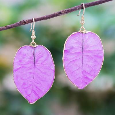 Gold accented natural flower dangle earrings, 'Bougainvillea Love in Purple' - Gold Accented Natural Flower Dangle Earrings in Purple
