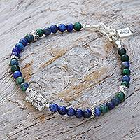 Azure-malachite beaded bracelet, 'Ocean Garden' - Azure-Malachite and Karen Silver Beaded Bracelet