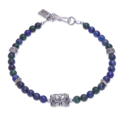 Azure-malachite beaded bracelet, 'Ocean Garden' - Azure-Malachite and Karen Silver Beaded Bracelet