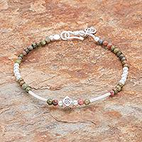 Unakite beaded bracelet, 'Karen Nature' - Unakite and Karen Silver Beaded Bracelet from Thailand