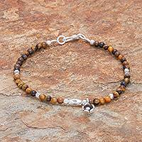 Tiger's eye beaded bracelet, 'Earthen Flower' - Tiger's Eye and Karen Silver Beaded Bracelet from Thailand