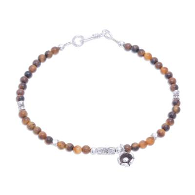 Tiger's eye beaded bracelet, 'Earthen Flower' - Tiger's Eye and Karen Silver Beaded Bracelet from Thailand