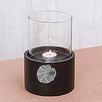 Wood and pewter tealight holder, 'Elegant Lotus' - Lotus Motif Wood and Pewter Tealight Holder