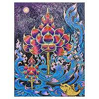 'Enlightenment' - Expressionist Acrylic Painting of  Buddhist Lotus Blossom