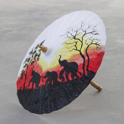 Joyful Elephants - Hand Painted Cotton Parasol Home Accent