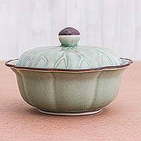 Covered celadon ceramic bowl, 'Bai Bua' - Genuine Celadon Ceramic Lidded Bowl from Thailand