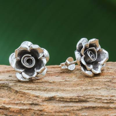 Silver button earrings, 'Hill Tribe Roses' - Thai Karen Hill Tribe Silver Flower Theme Button Earrings