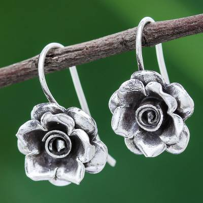 Silver drop earrings, 'Hill Tribe Roses' - Rose Theme Thai Karen Hill Tribe Silver Drop Earrings
