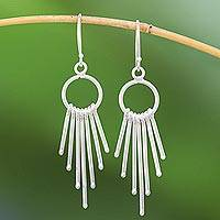 Silver waterfall earrings, 'Bright Cascade' - Karen Silver Waterfall Earrings with Rings from Thailand