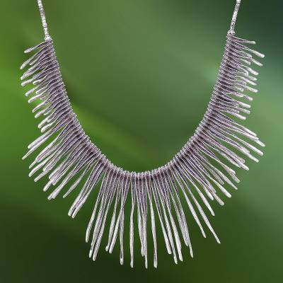 Silver beaded waterfall necklace, 'Dark Cascade' - Combination-Finish Karen Silver Waterfall Necklace