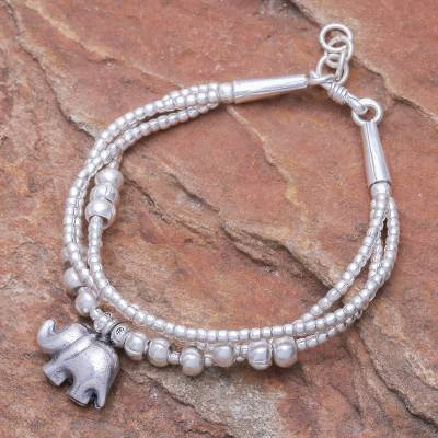 Silver beaded charm bracelet, Little Karen Elephant